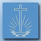 Das Emblem der Neuapostolischen Kirche stellt ein über stilisierten Wellen schwebendes Kreuz dar, am Horizont geht die Sonne auf.