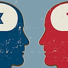 Gezeichnet: Köpfe reden miteinander, im Kopf des einen ein Davidstern, im Kopf seines Gegenübers ein Kruzifix.