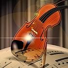 Optisch verzerrte Geige und Notenblatt