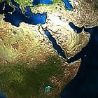 Weltkugel, umgeben von grünen Blättern