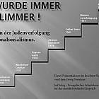 Stationen der Judenverfolgung, dargestellt mit Treppenstufen.