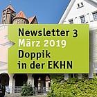 """Darmstädter Pauluskirche und Nebengebäude. Mit Banner """"Doppik-Newsletter Nr. 3 März 2019"""