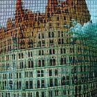 """Ausschnitt aus dem Bild """"Turmbau zu Babel"""" von Pieter Bruegel der Ältere, verfremdet mit Binärcode"""