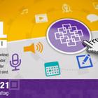 Facettenkreuz, verschiedene Icons aus der digitalen Welt und Hinweis auf den Termin.