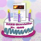 Jubiläumstorte mit Aufschrift EKHN-Newsletter Nr. 1000 - Konfettihintergrund