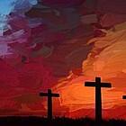 Gemälde Gethsemane drei Kreuze
