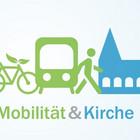 Symbolzeichnung mit Fahrrad, Bahn, Fußgänger und Kirche