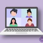 Gezeichnetes Notebook mit vier Personen auf Bildschirm