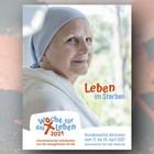 Kranke Person im Krankenhaus und Wort-Bild-Marke der Woche für das Leben