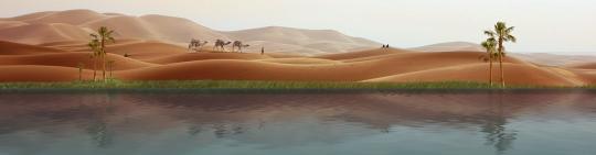 Wüste, Kamele und im Vordergrund eine Oase