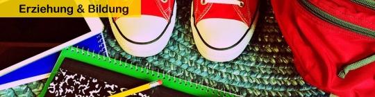Schultasche, Schuhe, Stifte, Block Tablet
